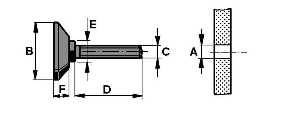 PB Fastener-Vijačenje podnožja, (A x B x D x E x F) 11x38x100x17x10mm, polipropilen, crn 148 3010 699 11