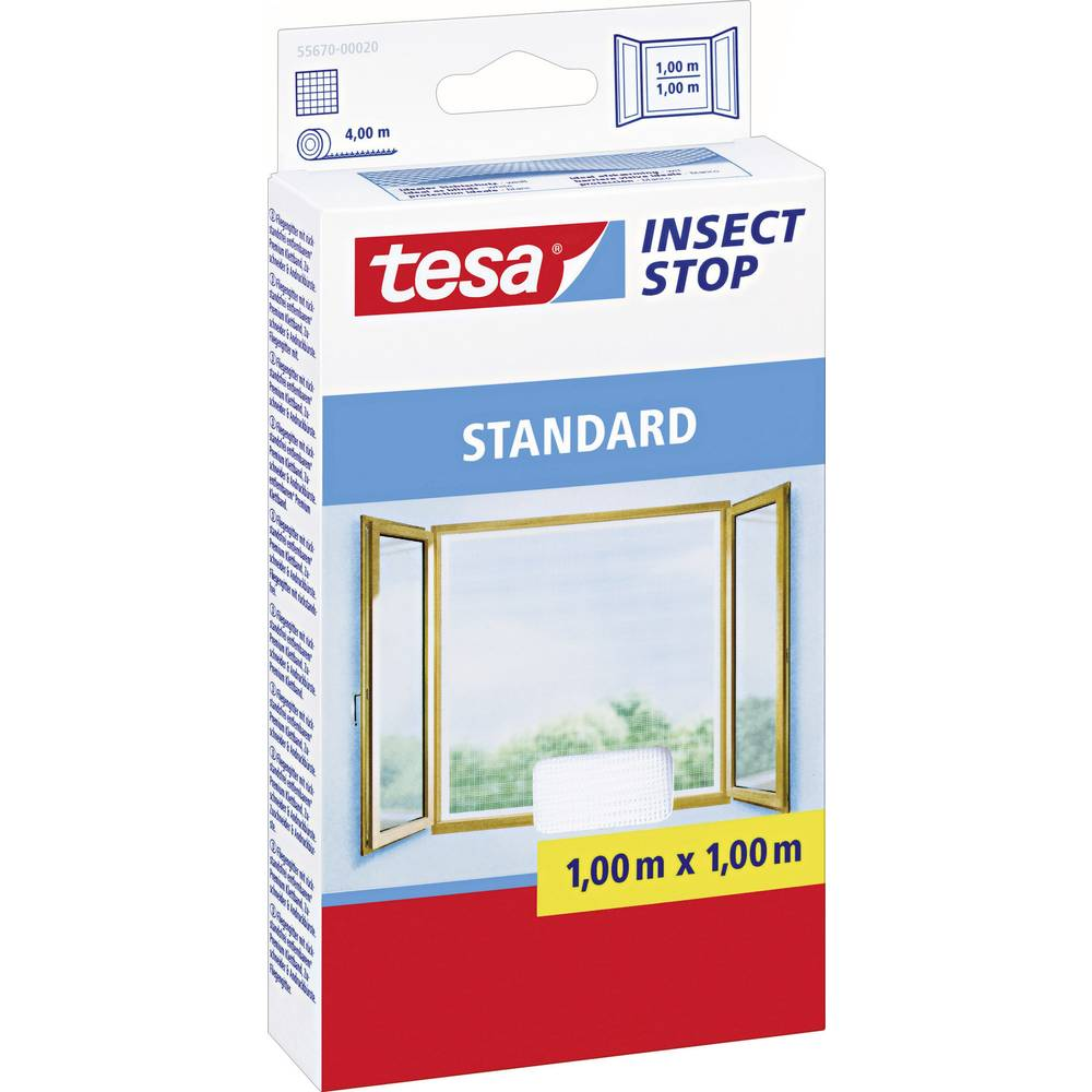 tesa insect stop standard 55670 20 fly screen l x w 1000 mm x 1000 mm white 1 pc s from. Black Bedroom Furniture Sets. Home Design Ideas