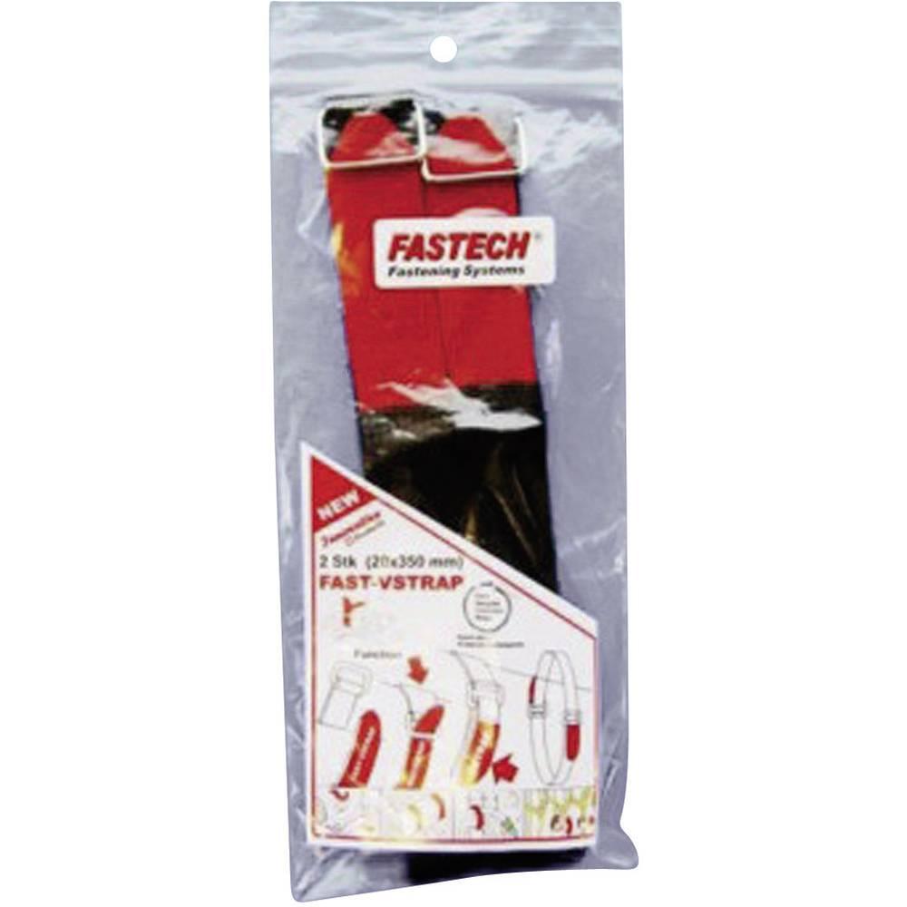 Remen s čičkom Fastech prianjajući i mekani dio (D x Š) 350 mm x 20 mm crna, crvena 687-330M-Bag 2 komada