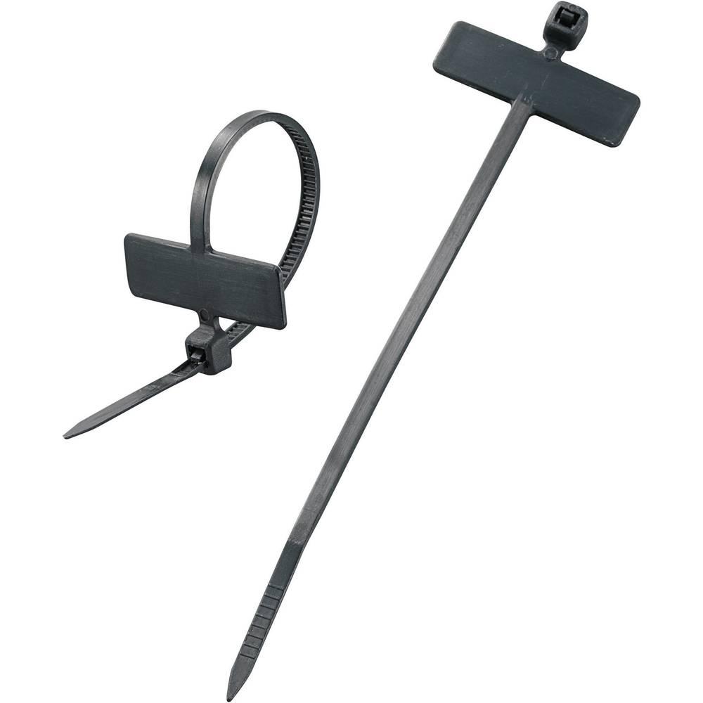 Označevalnik za kable, površina: 20 x 13 mm črne barve 532084 100 kos