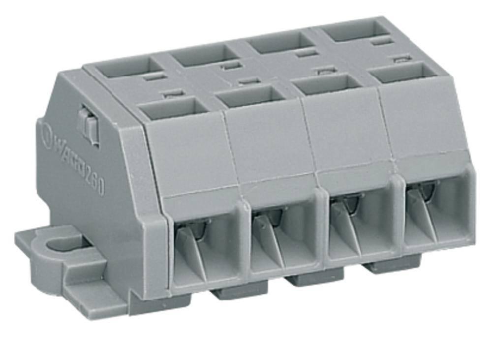 Klemmerække 8 mm Trækfjeder Belægning: L Grå WAGO 260-204 100 stk
