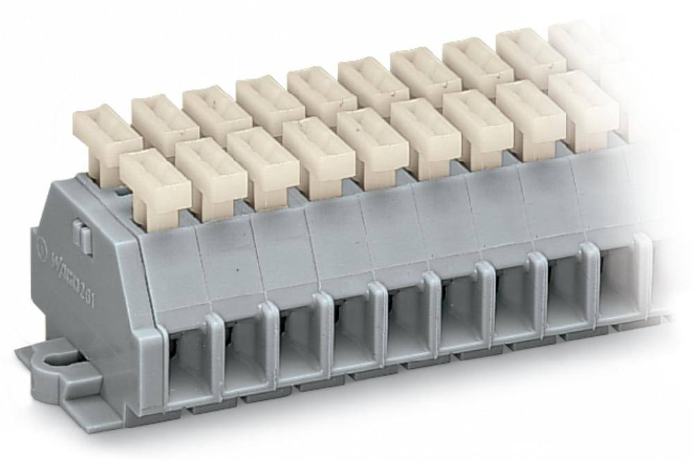 Klemmerække 6 mm Trækfjeder Belægning: L Grå WAGO 261-103/341-000 100 stk