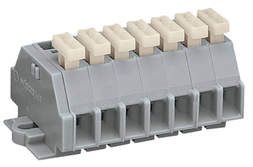 Klemmerække 6 mm Trækfjeder Belægning: L Grå WAGO 261-107/331-000 50 stk