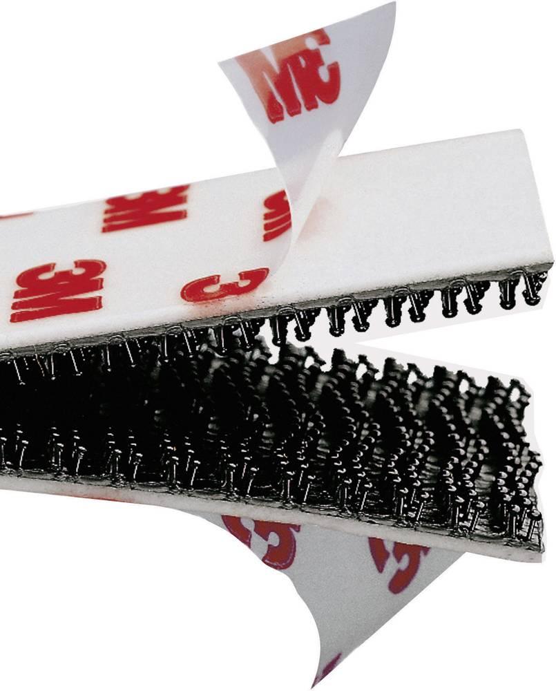 Samolepilni sprijemalni trak 3M, s sprijemalnimi glavicami, (D x Š) 1000 mm x 19 mm, črne barve, SJ 3550, metrski