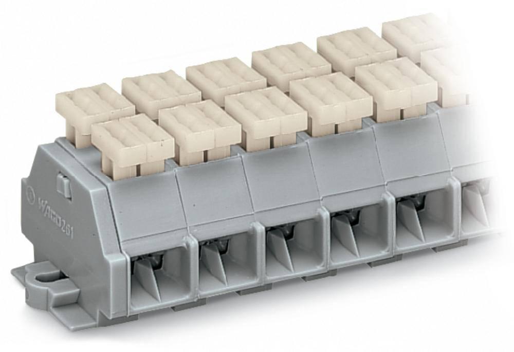 Klemmerække 10 mm Trækfjeder Belægning: L Grå WAGO 261-203/342-000 100 stk