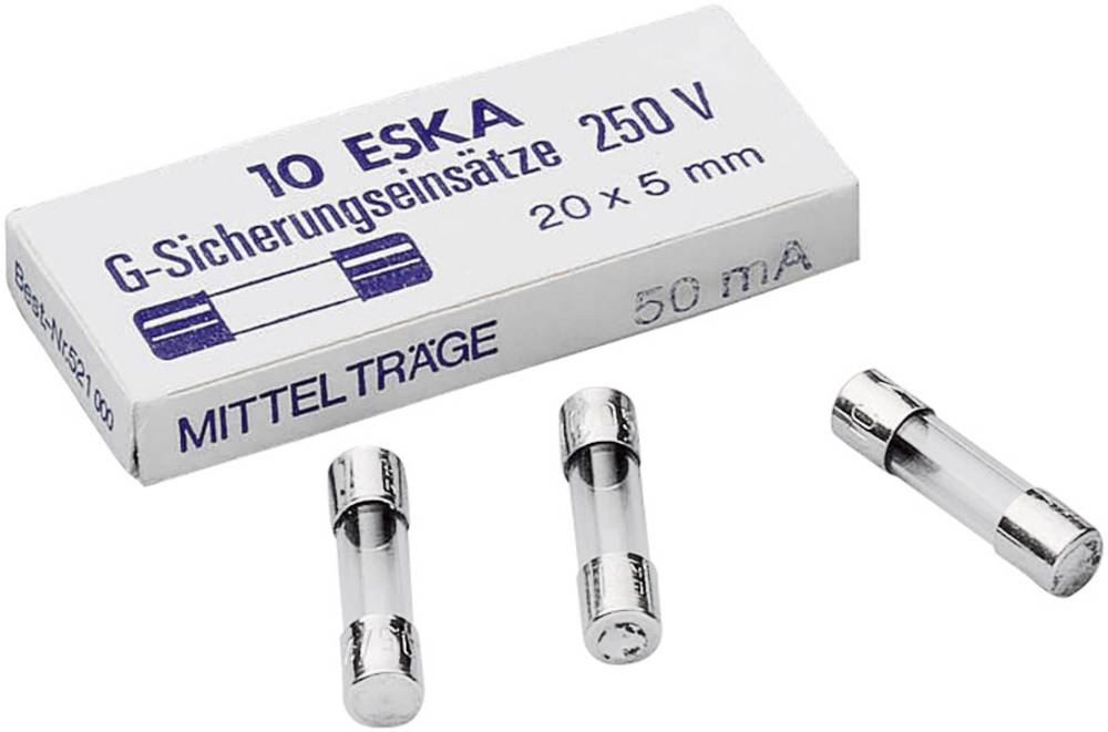 Finsikring (Ø x L) 5 mm x 20 mm 0.063 A 250 V Middeltræg -mT- ESKA 521005 Indhold 10 stk