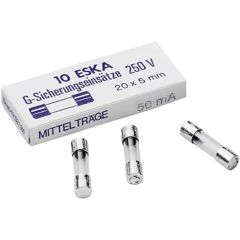 Finsikring (Ø x L) 5 mm x 20 mm 6.3 A 250 V Middeltræg -mT- ESKA 521025 Indhold 10 stk