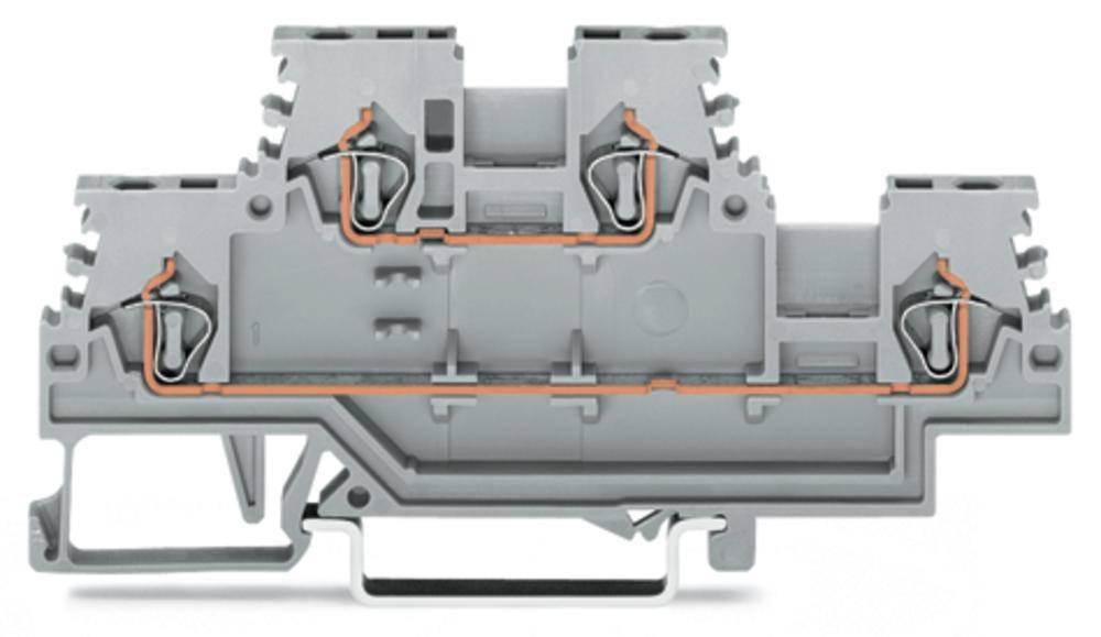 Dobbeltlags-gennemgangsklemme 4 mm Trækfjeder Belægning: L, L Grå WAGO 279-501 50 stk