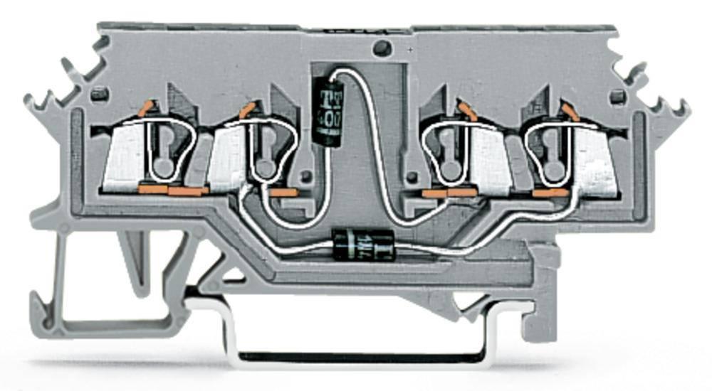 Diodeklemme 4 mm Trækfjeder Belægning: L Grå WAGO 279-620/281-408 100 stk