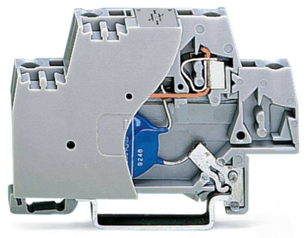 Enkelt klemme 10 mm Trækfjeder Belægning: L Grå WAGO 280-502/281-586 50 stk