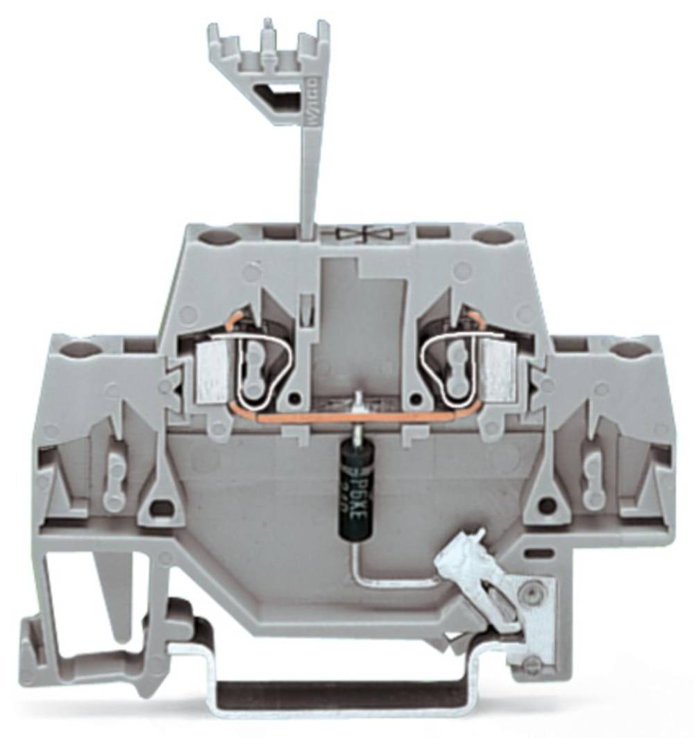 Enkelt klemme 5 mm Trækfjeder Belægning: L Grå WAGO 280-502/281-608 50 stk