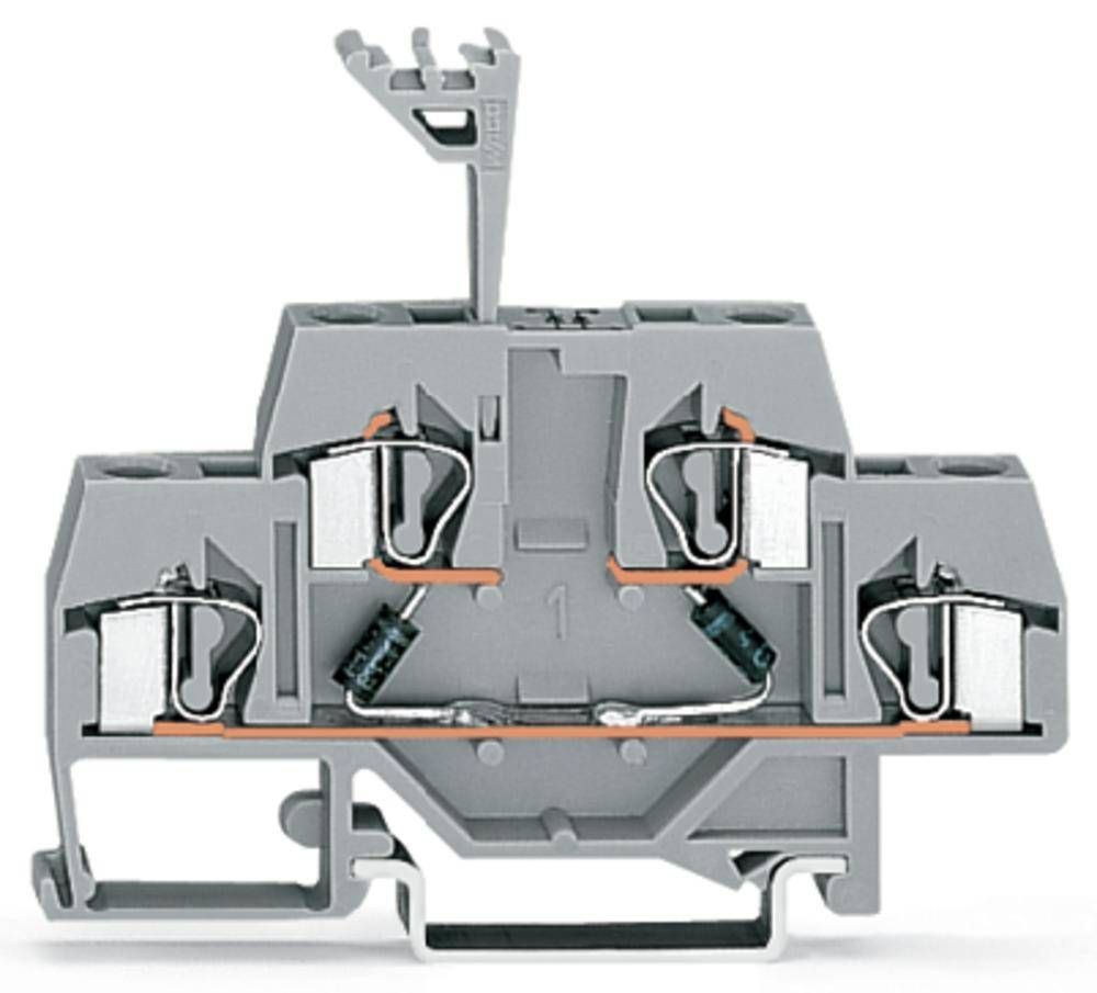 Dobbeltlags diodeklemme 6 mm Trækfjeder Belægning: L Grå WAGO 281-636/281-488 50 stk