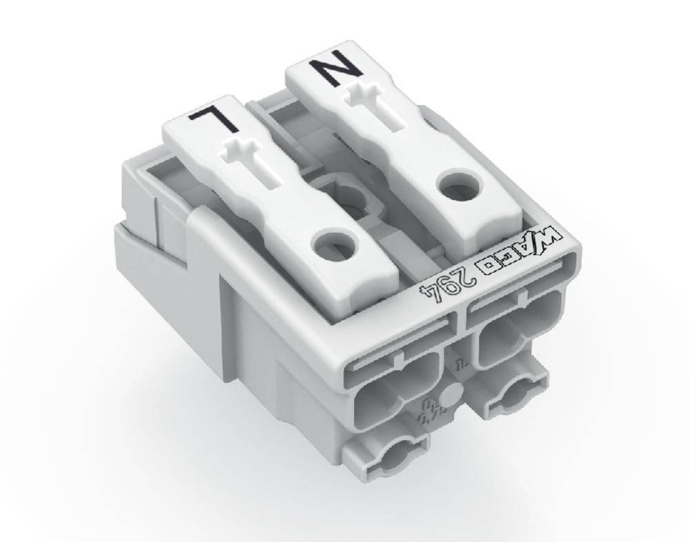 Omrežna priključna sponka, toga: 0.5-1.5 mm št. polov: 2 WAGO 294-5022 1000 kos bela