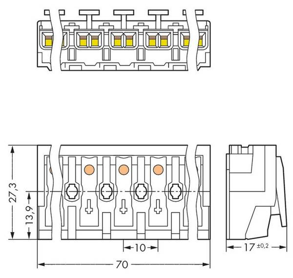 Mains connector rigid: 0.5-1.5 mm² Number of pins: 7 WAGO