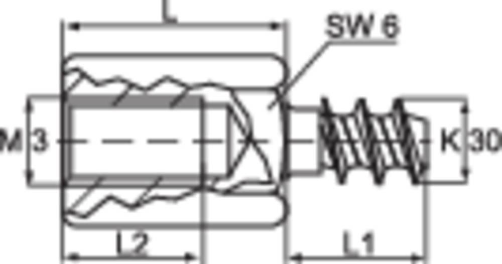 Distančni sornik, zunanji in notranji navoj M3, medenina, razmik 10 mm TOOLCRAFT DIBLZ AK 30X7/IM3/10 1 kos