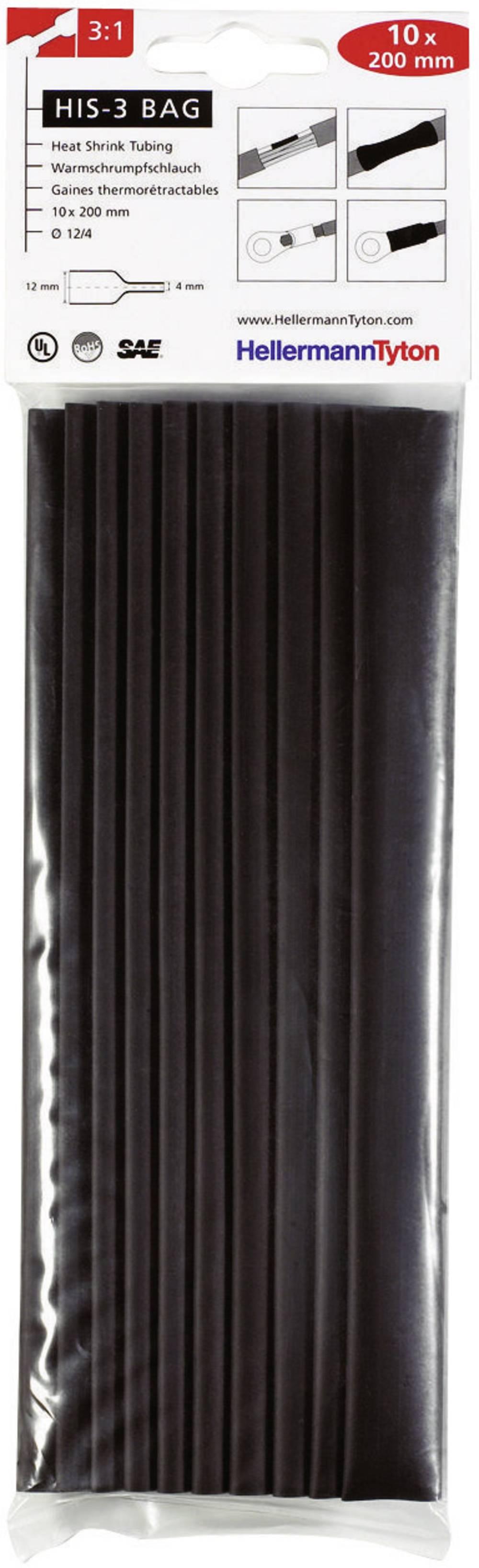 Set termo skupljajućih cijevi(10x 20 cm), HIS-3 3:1, crna,HellermannTyton 308-31210