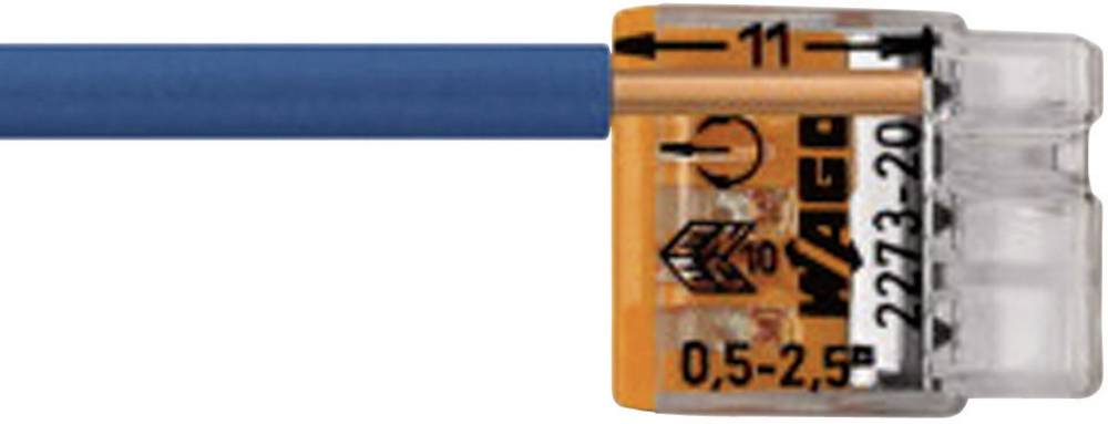 Vtična sponka toga: 0.5-2.5 mm št. polov: 3 WAGO 2273-203 100 kos transparentna, oranžna