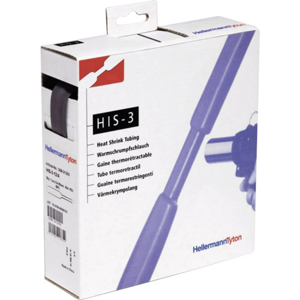 Toplotno skrčljiva cevka brez lepila črne barve 3 mm razmerje krčenja:3:1 HellermannTyton 308-30300 HIS-3/1-PEX-BK H&B