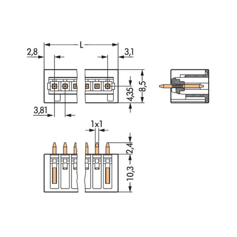 Wago Pin Strip Standard 2140 Total Number Of Pins 4 Contact Wiring Diagram For Ih 234 Spacing 381