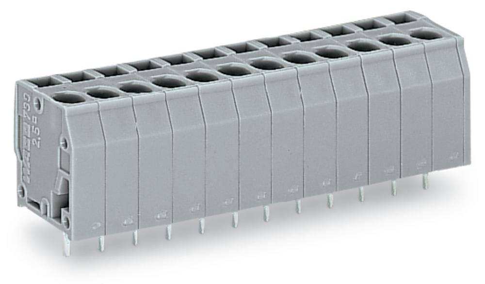 Fjederkraftsklemmeblok WAGO 2.50 mm² Poltal 24 Grå 20 stk