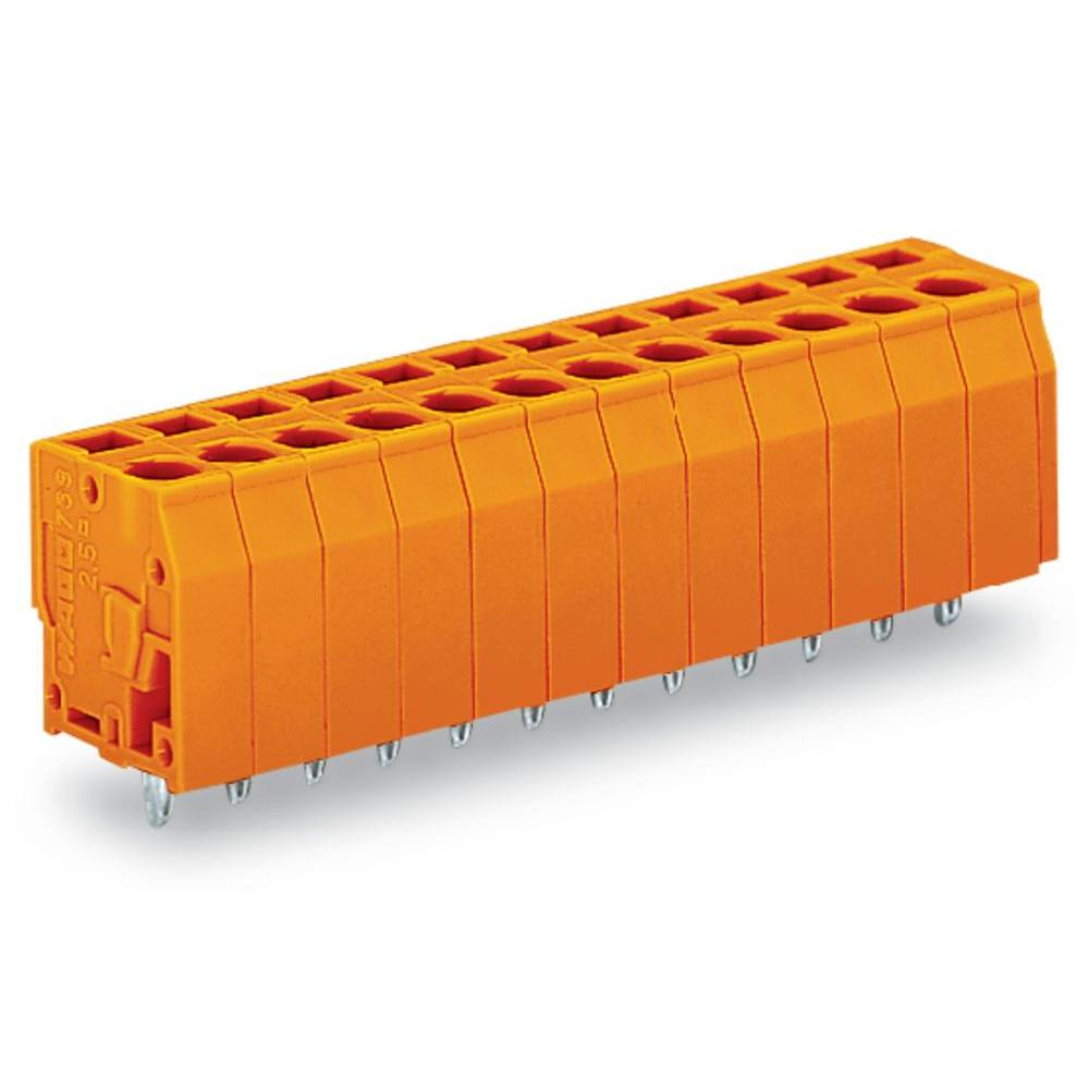 Fjederkraftsklemmeblok WAGO 2.50 mm² Poltal 12 Orange 60 stk