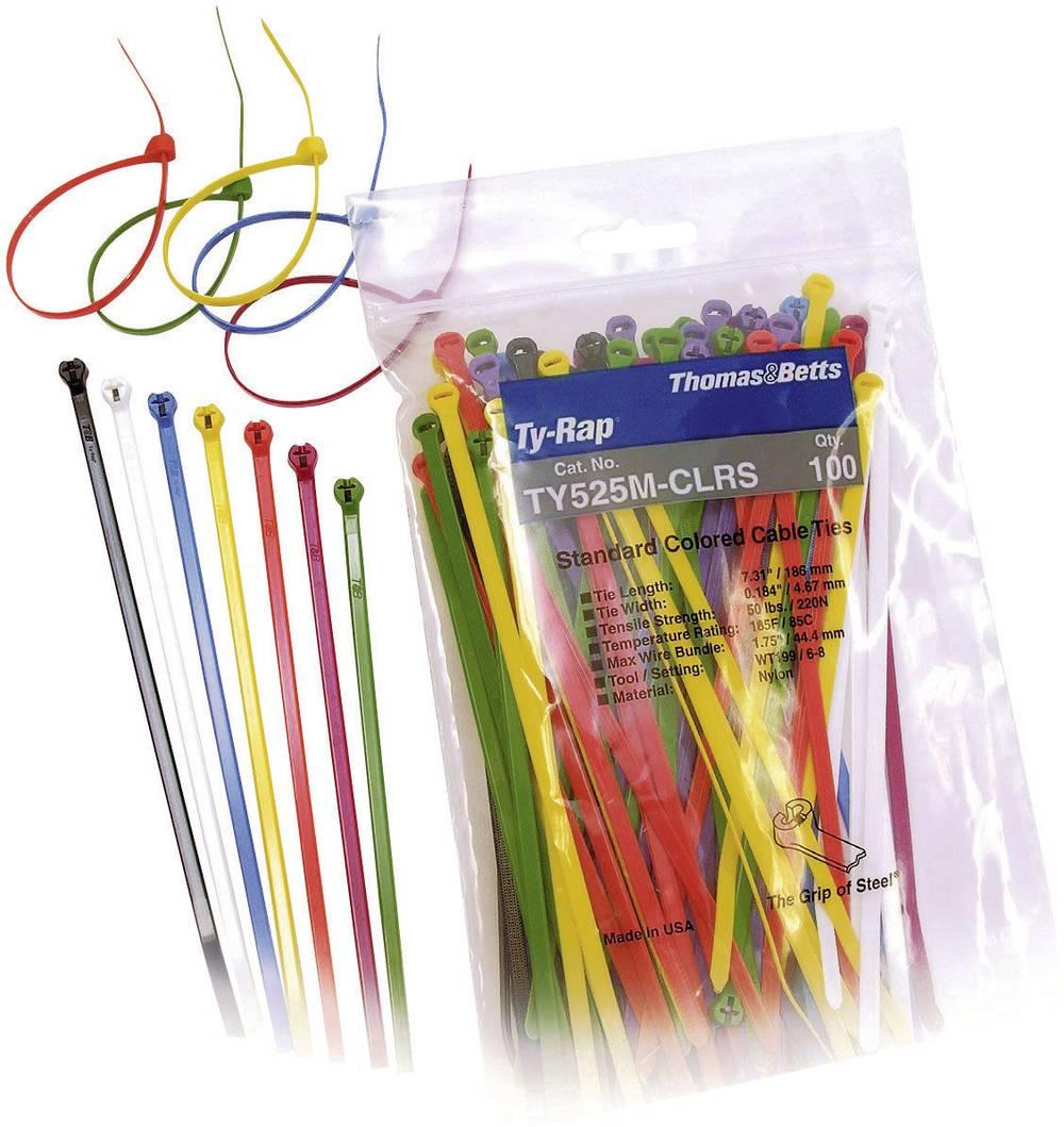 Kabelske vezice 186 mm črne barve, rjave barve, rdeče barve, oranžne barve, rumene barve, zelene barve, modre barve, lila barve,