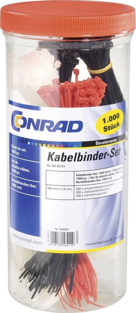 Sortiment kabelskih vezic 100 mm črne barve, rdeče barve, naravne barve Conrad Components 28530c208 1000 kos