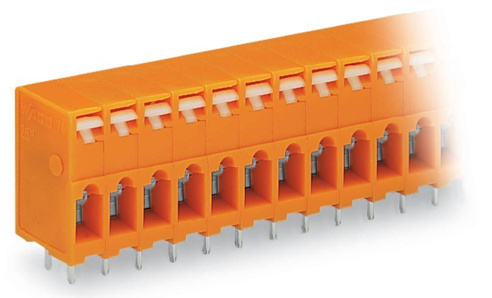 Fjederkraftsklemmeblok WAGO 2.50 mm² Poltal 9 Orange 100 stk