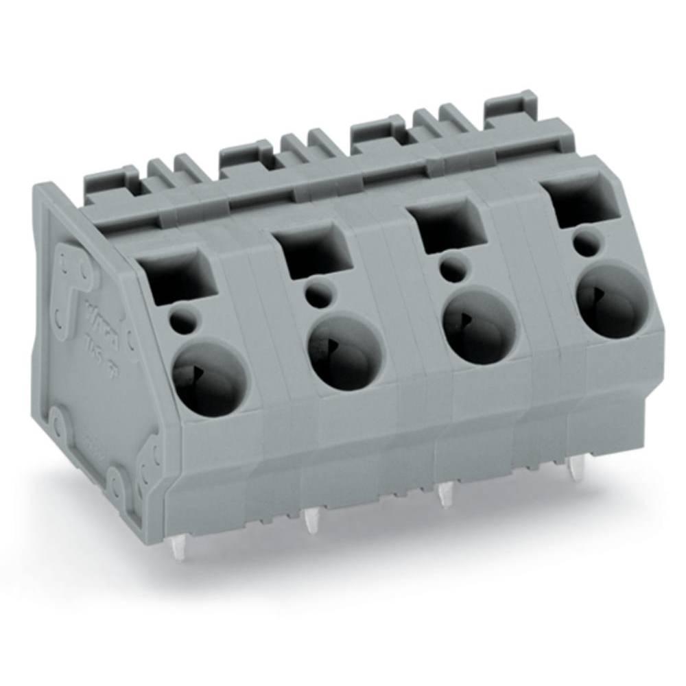 Fjederkraftsklemmeblok WAGO 6.00 mm² Poltal 6 Grå 24 stk