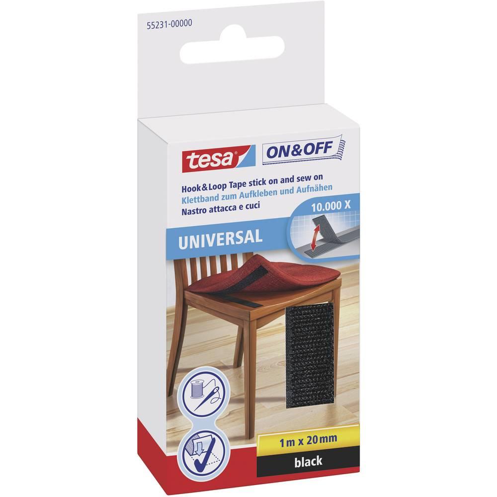 Sprijemalni trakovi za lepljenje/šivanje Tesa On & Off, (D xŠ ) 1 m x 20 mm, črne barve 55231-00-01