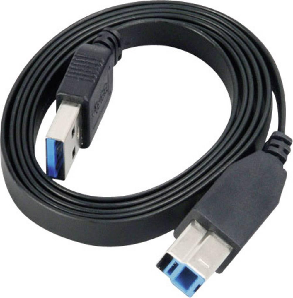 USB-kabel Akasa, moški konektor USB 3.0 tipa A na moški konektor USB 3.0 tipa B, črn, 2 m