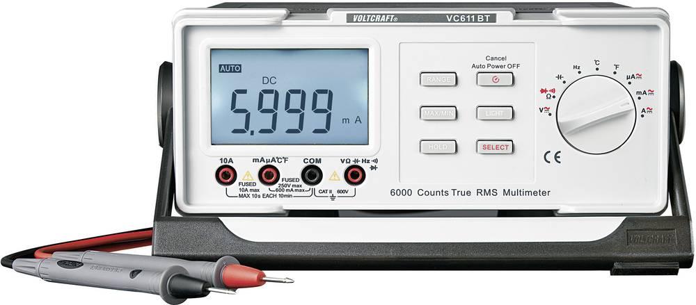 Namizni multimeter, digitalni VOLTCRAFT VC611BT kalibracija narejena po: DAkkS CAT II 600 V število znakov na zaslonu: 6000