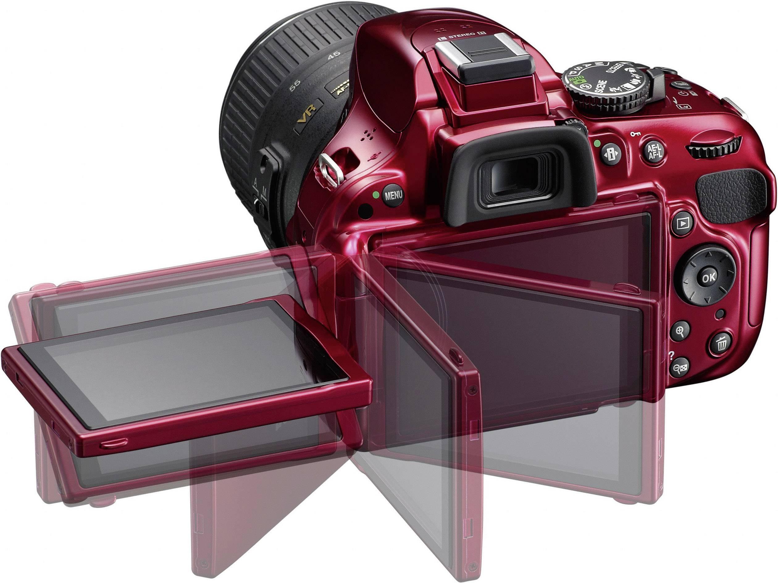 Nikon D5200 Kit Dslr Camera Af S Dx Nikkor 18 55 Mm Vr 24 1 Mp Red Full Hd Video Pivoted Display Optical Viewfinder L Conrad Com
