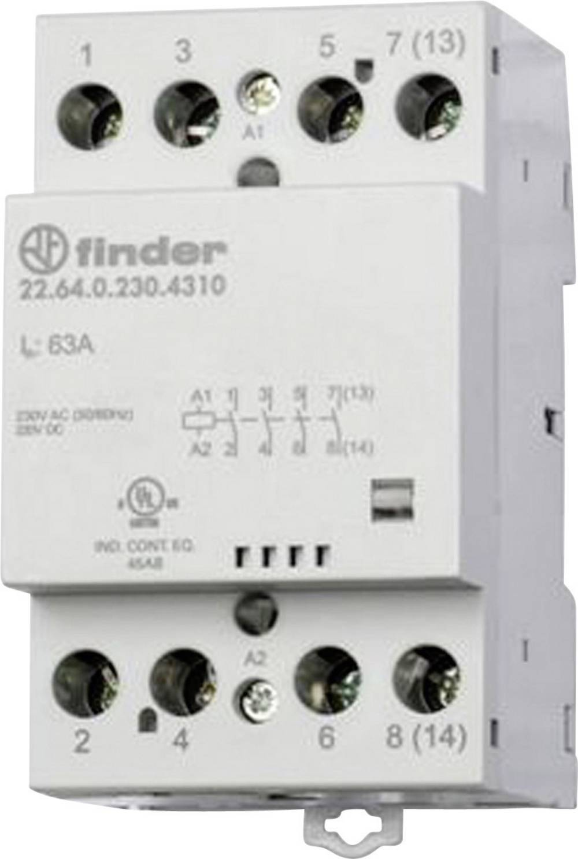 Kontaktor 1 stk 22.64.0.230.4310 Finder 4 x sluttekontakt 230 V/DC, 230 V/AC 63 A