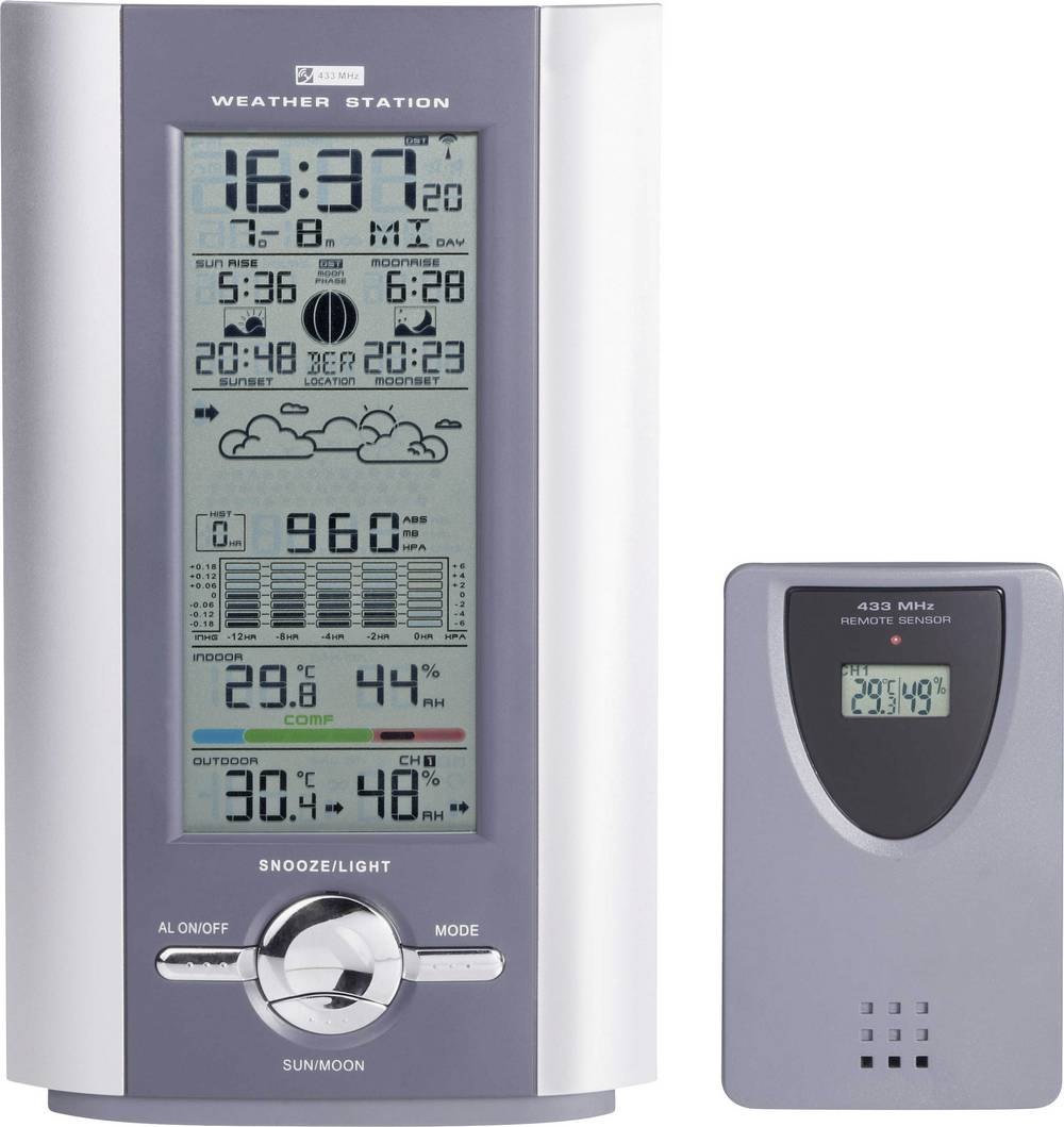 Digitalna vremenska postaja Profi (DCF) srebrna,siva KW 9005W-SM 8954c26 Conrad