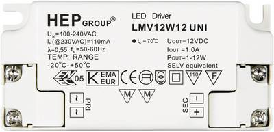 Image of 12W 12V LED transformer Constant voltage 0 - 1 A 12 Vdc not dimmable