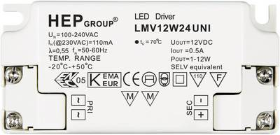 Image of 12W 24V LED transformer Constant voltage 0 - 0.5 A 24 Vdc not dimmable