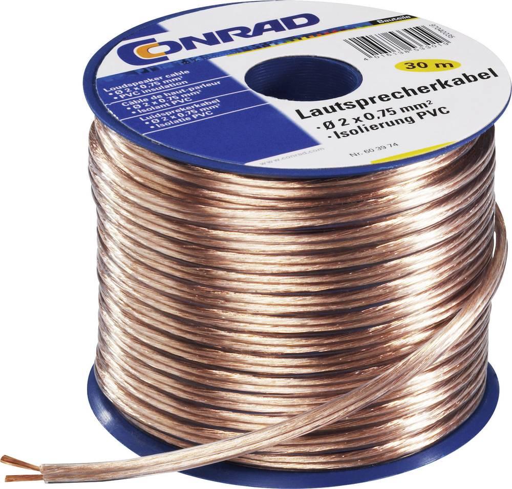 Kabel za zvučnike SH1998C180 Conrad 2 x 0.75 mm, prozirna, 30 m
