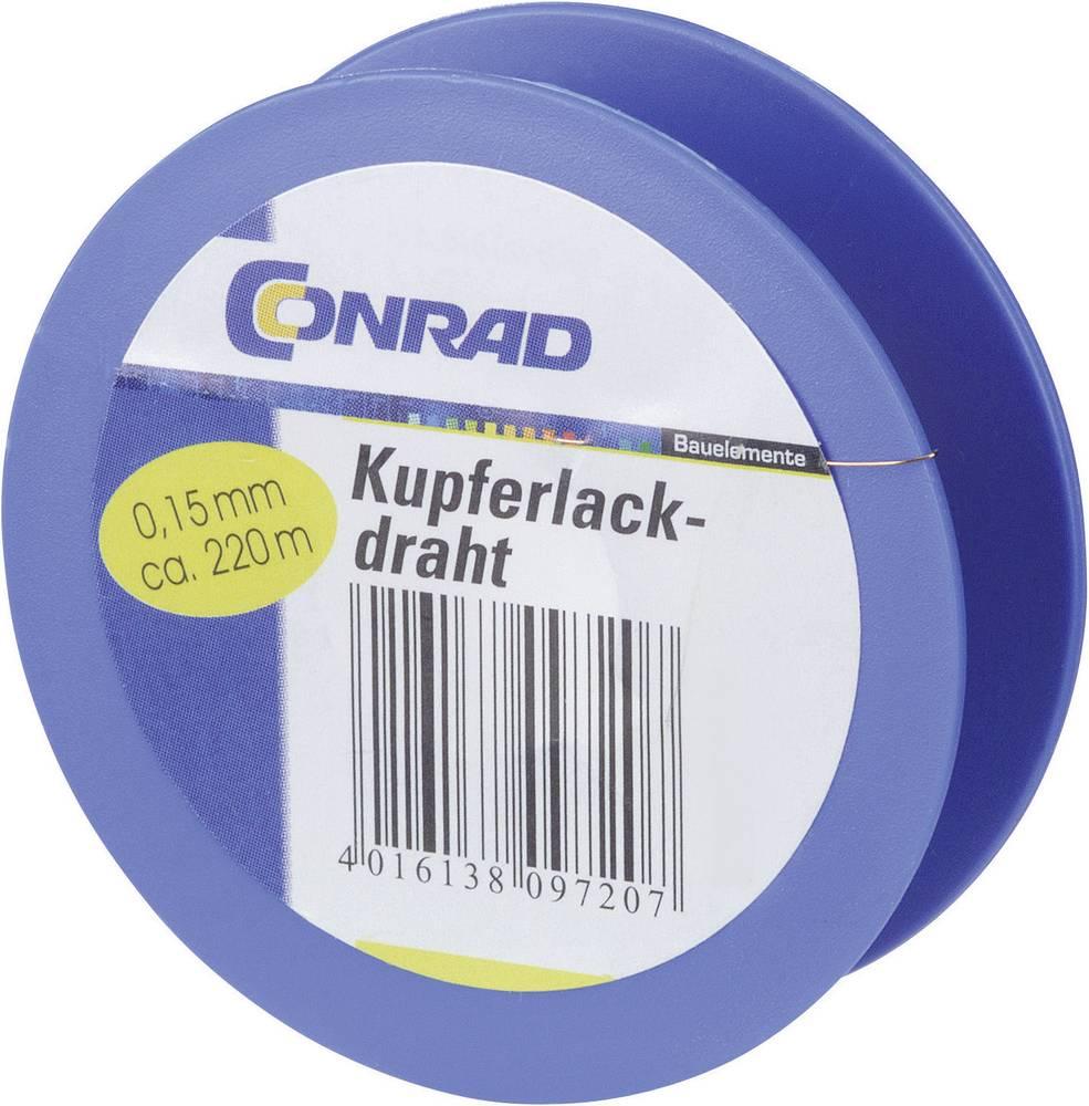 Lakirana bakrena žica zunanji premer (vklj. izolacijski lak)=0.10 mm 450 m Conrad Components