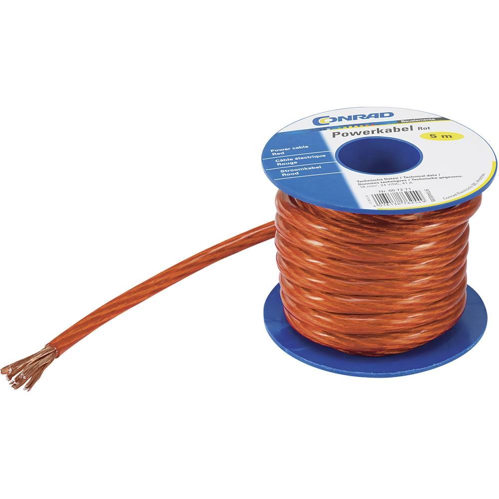 Ozemljitveni kabel (Power cable) 1 x 10 mm rdeče barve, transparentne barve Conrad Components SH1997C169 5 m