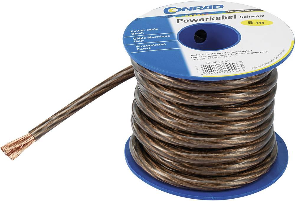 Ozemljitveni kabel (Power cable) 1 x 10 mm črne barve, transparentne barve Conrad Components SH1997C170 5 m