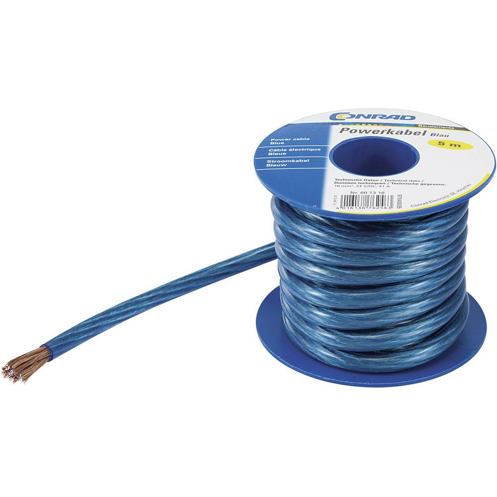 Kabel za uzemljenje (Power cable) 1 x 10 mm plave boje, prozirne boje Conrad Components SH1997C171 5 m