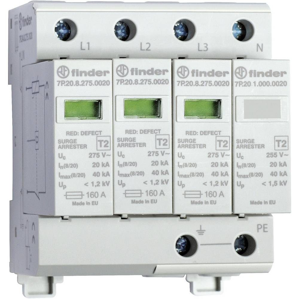 Surge arrester Surge prtection for: Switchboards Finder 7P.24.8 ...