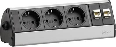 EVOline 93004783 Socket strip (w/o switch) 3x Black/silver PG connector