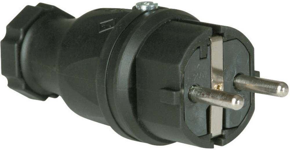 Schuko Stikprop Massivt gummi 230 V Sort IP44 PCE 0512-s