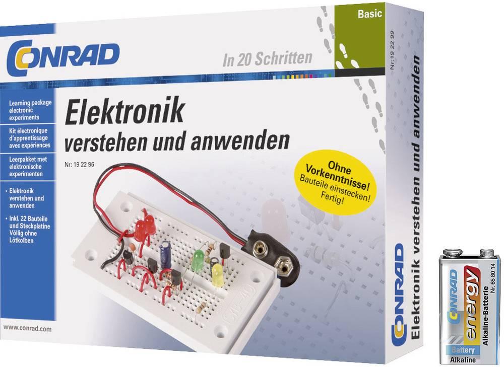 Osnovni učni komplet za elektroniko + 9 V alkalna blok baterija Conrad energy