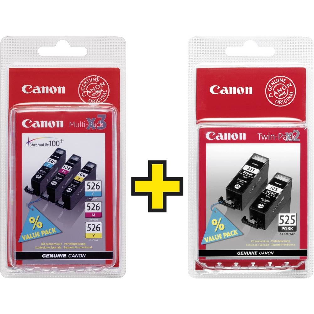 Canon Ink Pgi 525 Cli 526 Original Set Black Cyan Magenta Cartridge 29 Photo Yellow 4529b010 4541b009