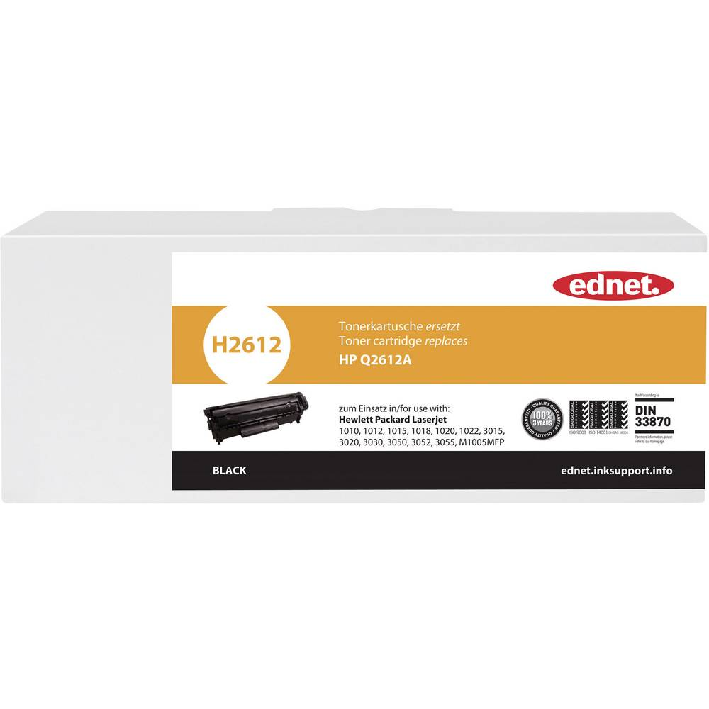 Toner Cartridge Compatible Ednet H2612 Replaced Hp 12a Black Page 1020 Yield 2500 Pages
