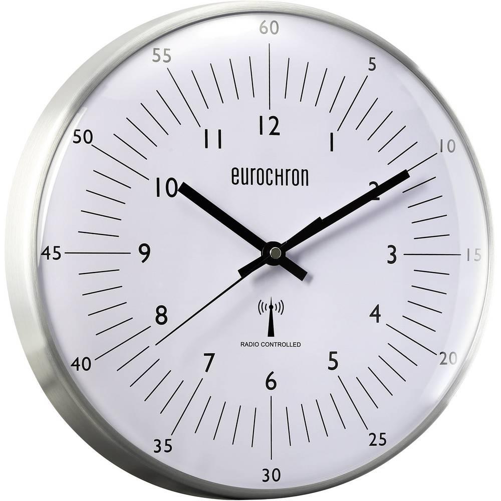 Eurochron Radijski kontrolirani zidni sat, EFWU 555 N (promjer x D) 31.5 cm x 6.6 cm srebrne boje