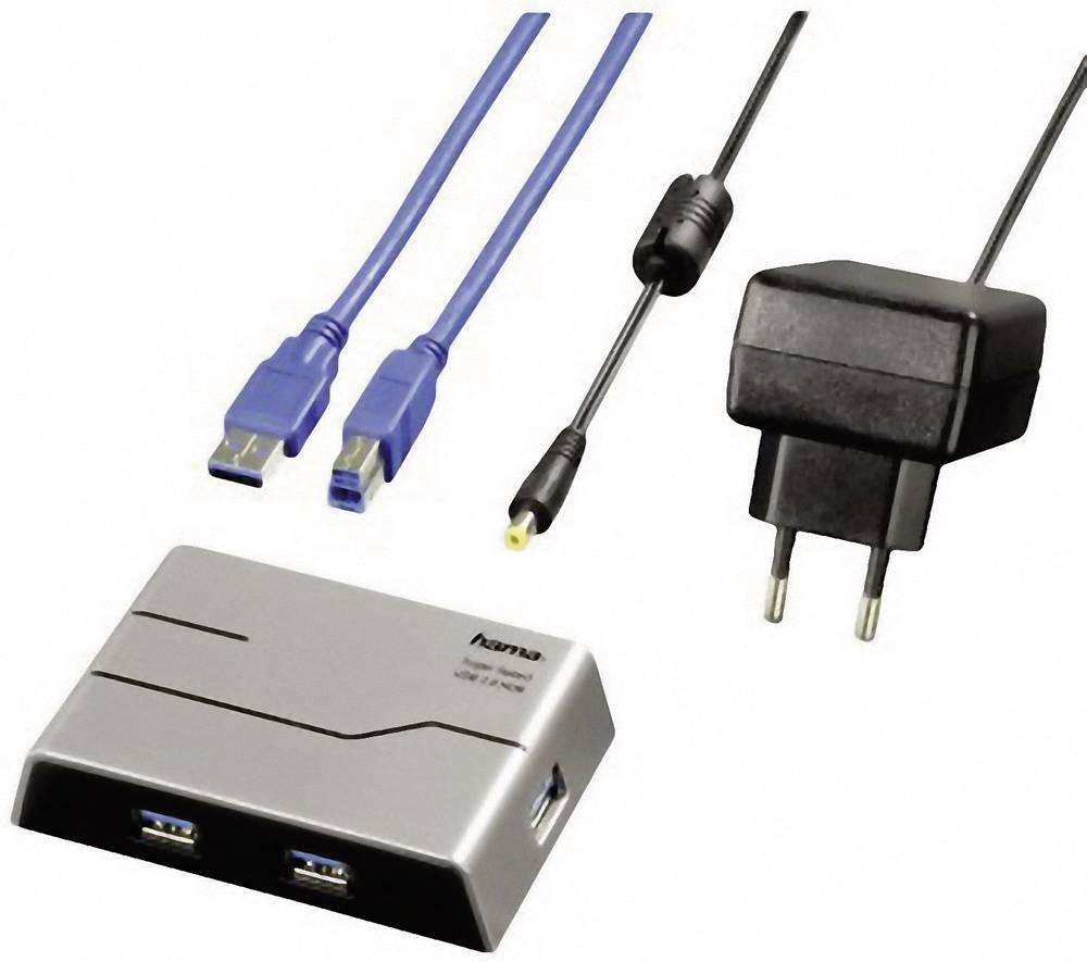 USB-Hub 3.0 Hama 4 Port Svart, Silver